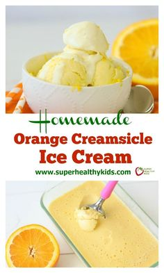This homemade orange creamsicle ice cream recipe is dairy free, includes whole fruit and is super easy to make! Brownie Desserts, Oreo Dessert, Mini Desserts, Ice Cream Desserts, Frozen Desserts, Ice Cream Recipes, Frozen Treats, Fruit Ice Cream, Cold Desserts