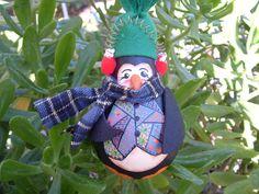 Penguin Christmas light bulb Ornament by CzechUsOut on Etsy $15  patchwork vest