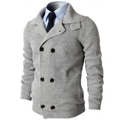 Mens Sweaters Knitted Slim Fit Double Breasted Cardigan Sweater (KMOCAL025:DOUBLJU)