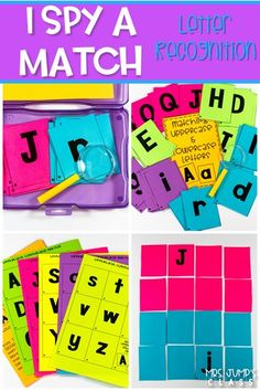 Self-checking matching card games for kindergarten and first grade. These letter recognition activities are perfect for Centers, Early Finishers, morning work or anytime during the day!