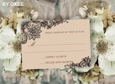 Printable wedding RSVP card template Vintage brown lace by Oxee, $5.00