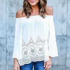 Fashion Sexy Women Off-Shoulder Long Sleeve Hollow Loose Casual Shirt – eefury