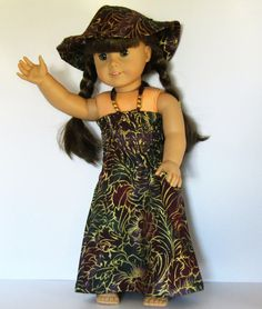 Full Length Beach Dress with Hat Made to Fit Dolls by something2do