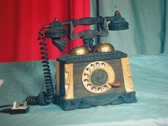 1992 year.handmade telephone-beech oak mahogany.
