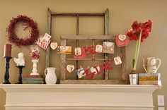 valentine mantel decorations | added some vintage valentine's I bought off of Ebay, a few doilies ...
