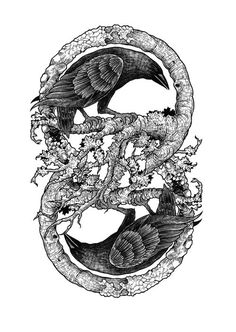 Two Crows via Of Love, of Lust and of Death Might be Norse myth Hugen and Mugen, Oden's messengers Wolf Tattoos, Body Art Tattoos, New Tattoos, Tattoo Ink, Sleeve Tattoos, Deer Tattoo, Tattoo Tree, Dragon Tattoos, Hand Tattoos