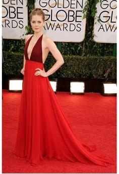 Amy Adams in Valention at Golden Globes Awards. The two-tone red Valentino is great on the red carpet. It bright and pops against Amy Adams' pale skin. The cut and material isn't too over the top but definitely has the red carpet material! Amy Adams, Celebrity Red Carpet, Celebrity Dresses, Celebrity Style, Prom Dress 2014, Backless Prom Dresses, Beautiful Dresses, Nice Dresses, Formal Dresses