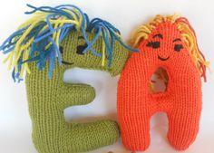 Alphabet Eco Friendly Learning Toy,  Handknit Letter Stuffed Plush,  Back to School, Custom knit for youHoliday Kids Toys. $24.00, via Etsy.