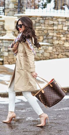 Spring Trench Coat with Plaid Scarf and White Skinny Jeans, Waves Hairstyles and Christian Louboutin Pumps - The Sweetest Thing