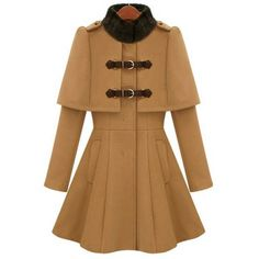 Ladylike All-Match Solid Color Stand Collar Faux Cappa Waisted Buckle Long Sleeves Coat For Women, CAMEL, XL in Jackets & Coats | DressLily.com
