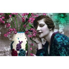 SENSUAL FLAPPER FLOWERS French Art Deco Photo Postcard Digital Flowers... (€2,32) ❤ liked on Polyvore featuring home, home decor and stationery