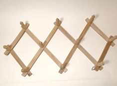 Vintage Wooden Pegs Accordion Wall Hooks, Wooden Coat Rack, Cottage Coat Rack, Expandable Wall Rack, Farmhouse Wall Rack, Rustic Home Decor by LegandaryVintage on Etsy