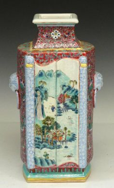 A Chinese Famille Rose Porcelain Vase, Qing Dynasty, Size: H 28cm
