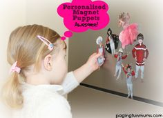 Personalised Magnet Puppets - print out pictures of kids, dogs, etc., laminate, and add magnetic strips to the back. Great idea for road trip--bring a small cookie sheet from the Dollar Tree for hours of in-car fun! Indoor Activities For Kids, Craft Activities, Fun Crafts To Do, Diy Crafts, Diy For Kids, Cool Kids, Clever Kids, Handmade Birthday Gifts, Puppets