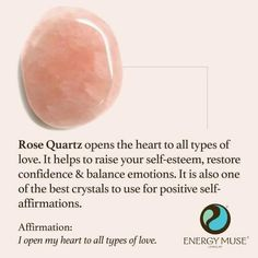 Rose Quartz - shared from Energy Muse Jewelry via Unity of Witchcraft
