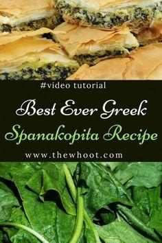 Spanakopita Recipe Best Ever Greek Spinach Pie {Video - Recipes Spinach Recipes, Vegetable Recipes, Healthy Recipes, Easy Spinach Pie Recipe, Locarb Recipes, Diet Recipes, Easy Appetizer Recipes, Easy Chicken Recipes, Appetizers