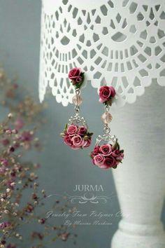 Polymer rose earrings