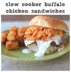 Slow Cooker Buffalo Chicken Sandwiches - SO easy and all the flavors of buffalo chicken!