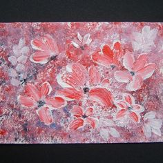 acrylic pink flowers aceo art painting. ref 196 £4.00