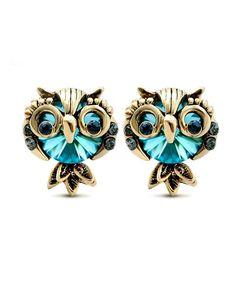 Women s Cute Owl Rhinestone Gemstone Stud Earrings C512JGEY2J7 12a6605349cd