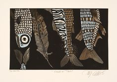 linocut print, Heads or Tails, with fish and a feather, in browns and blacks and a touch of blue. $95.00, via Etsy.