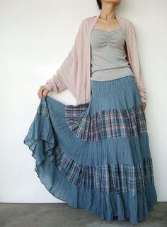 NO.92   Blue Cotton, Hippie Gypsy Boho Tiered Long Peasant Skirt-Dress ( 2 Options skirt ). $44.00, via Etsy.
