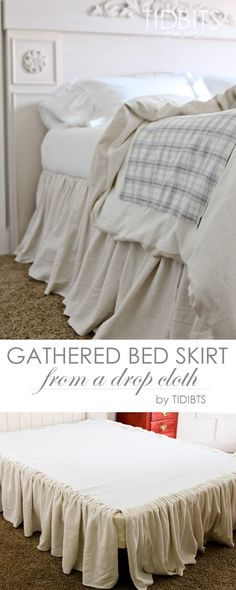 Gathered Bed Skirt made from a drop cloth or any fabric of choice. Time saving gathering technique included in tutorial. - by TIDBITS Design skirt DIY Gathered Bed skirt Home Bedroom, Master Bedroom, Bedroom Decor, Bedrooms, Drop Cloth Projects, Drop Cloth Curtains, Drop Cloth Slipcover, Brown Curtains, My New Room