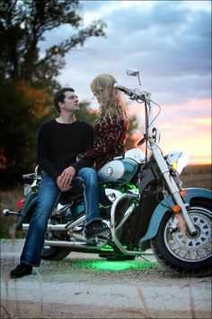Motorcycle engagement photo, so much fun!