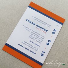 sports bar mitzvah invitation with stripes and fun date layout