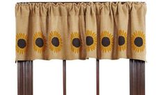 New Country Primitive BURLAP SUNFLOWER Curtain Window Valance in Curtains, Drapes & Valances   eBay