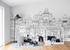 Out for a wall mural for kids? We have a wide collection of stunning kids wall murals. Buy online – free worldwide shipping and paste included. Funky Wallpaper, Kids Room Wallpaper, Wallpaper Murals, Kids Wall Murals, Murals For Kids, Deco Addict, London House, Space Saving Furniture, Play Houses