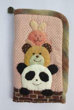 fabric panda bear rabbit glasses cell phone pouch purse bag case wallet cover #Handmade #CosmeticBags