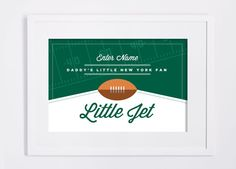 New York Jets Print. Custom NFL Children's Room or Nursery DIY Custom Design Print