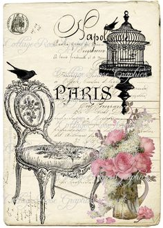 Large digital download Chair bird cage Paris French pink roses image BUY 3 get one FREE