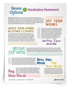 Don't let your students get stuck in a vocabulary review rut! With the Seven Options for Vocabulary Homework Tip Sheet, students can choose from a variety of fun and engaging activities for learning or reviewing vocabulary words.