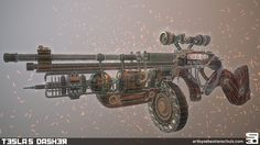 "Steampunk rifle inspired by the weapons of ""The Order 1886"". Base design from a concept art which I don't know the maker of (so if you recognize your design here, let me know!) but with some of my own additions."