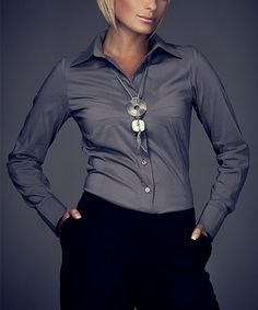 Another great find on #zulily! Gray Classic Button-Up #zulilyfinds
