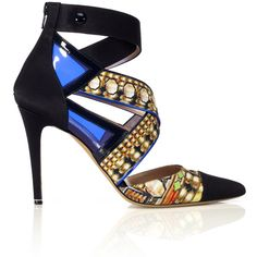 Nicholas Kirkwood For Peter Pilotto Printed Satin Pump ($1,150) ❤ liked on Polyvore featuring shoes, pumps, strappy shoes, jeweled shoes, zip shoes, strappy pumps i nicholas kirkwood shoes