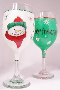Snowman Flake Wine Glass by GranArt on Etsy, $18.00
