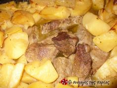 Beef with potatoes in the oven Greek Recipes, Pot Roast, Recipies, Oven, Dinner Recipes, Food And Drink, Meat, Vegetables, Cooking