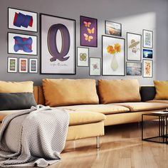 Mix it up! No matchy-matchy here. An assortment of art posters (these are all from the V&L shop) is a perfect way to add variety and colorful interest to a gallery wall! Straw Art, Orange Sofa, Blue Glass Vase, Art Ideas, Decor Ideas, Turquoise Art, Gallery Gallery, Sunset Art, Pink Art