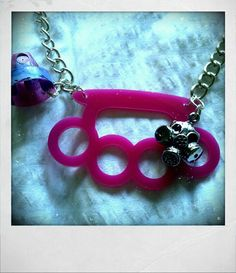 Pink Knuckle Duster with Gas mask Charm & Spray by BeatingMedusa, £15.00