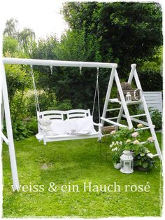 A grown up swing set:) I would add painted boards to the slide and make more shelves Outdoor Spaces, Outdoor Living, Garden Art, Home And Garden, Diy Garden, Brick And Stone, Woodworking Projects Plans, Porch Swing, Outdoor Furniture
