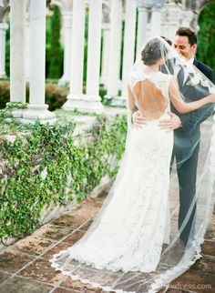 I'm totally going to confused you.... but look at the low cut back.....   #bridal #veils #wedding #veil