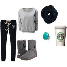 Lazy day outfit. Im pinning this in Giggle Fits because the Starbucks tumbler is included as part of the outfit.