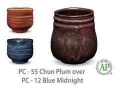 AMACO Potter's Choice layered glazes PC-12 Midnight Blue and PC-55 Chun Plum.