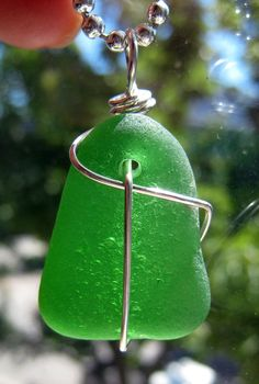 Kelly Green Sea Glass Necklace/Pendant/Sterling Wire Wrapped/Jewelry/Sea Swag/Urban Boho/Maine Surf Tumbled