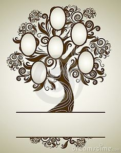 Perfect for quilling a family tree.....  Vector Family Tree Design With Frames Royalty Free Stock Image - Image: 16066316