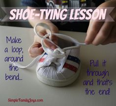 Build-A-Bear shoes or similar make shoe-tying much easier to teach!