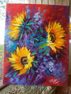 SUNFLOWERS  FLOWERS 11x14 CANVAS OIL PAINTING ORIGINAL PAT ROLLINS FLORIDA #Outsider